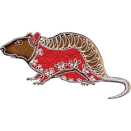 Chinese Zodiac Gingerbread Rat - Ranking the first in the Chinese zodiac, rat represents wisdom. Our is on Christmas gingerbread.