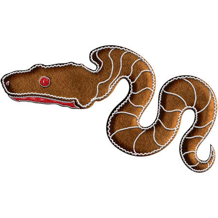 Chinese Zodiac Gingerbread Snake - Among the Chinese Zodiac animals, Snake has the sixth position. Snake is regarded to be pliable. Our is on Christmas gingerbread.