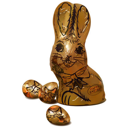 eastertime: Golden Chocolate Easter Bunny with 3 golden eggs.