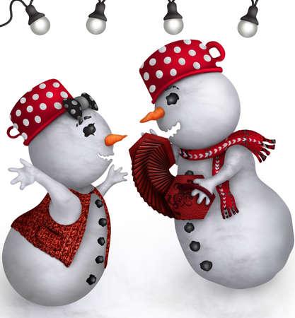 palle di neve: Pupazzo di neve e donna che canta una canzone di Natale sotto le lanterne Archivio Fotografico