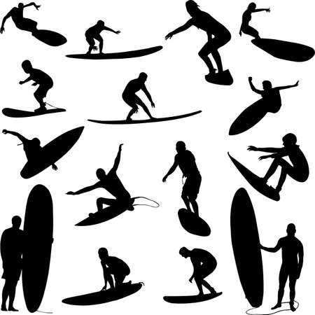 surfers:  surfers collection - vector Illustration