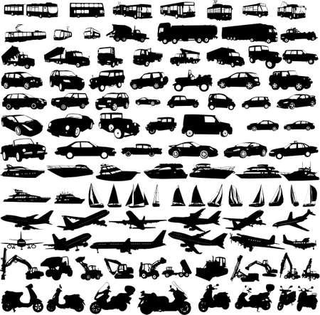 transportes: siluetas de transporte de recogida - vector