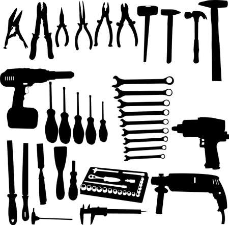steel workers: tools silhouettes collection - vector