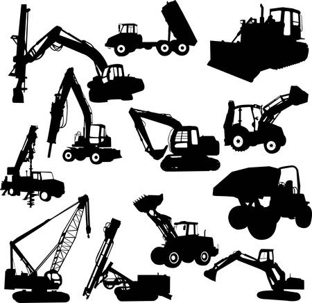 heavy industry: construction machines - vector Illustration