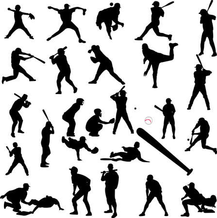 batters: baseball silhouettes - vector