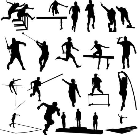 road runner: siluetas athletice - vector