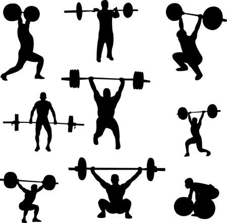 weightlifters silhouettes collection - vector Stock Vector - 5535773