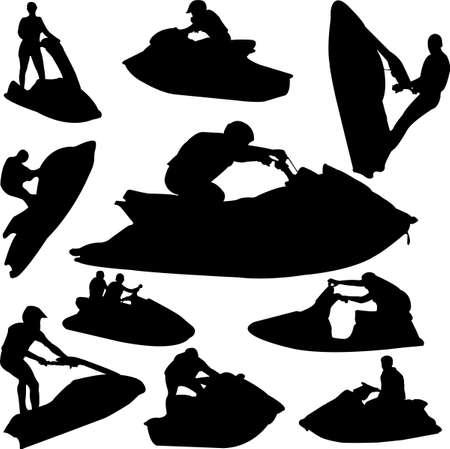 moto acuatica: siluetas de Jet ski - vector