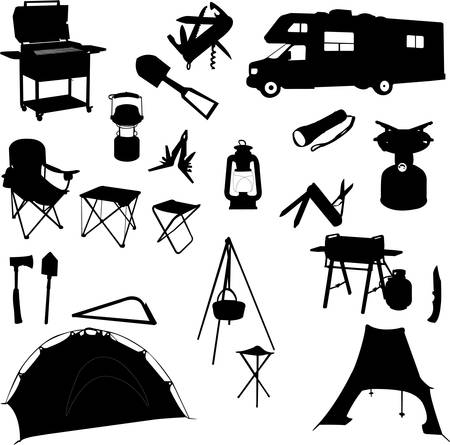 camping equipment: camping equipment silhouettes - vector Illustration