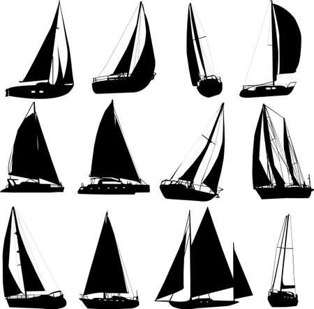 yacht race: siluetas de barco de vela - vector