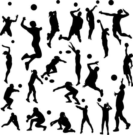 volleyball players - vector
