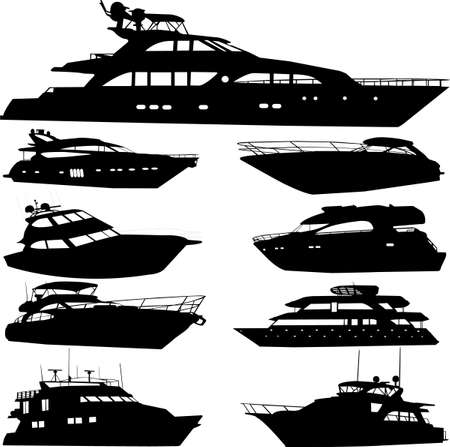 yacht race: motor yacht - vector Illustration