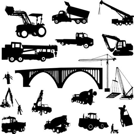 lift trucks: construction objects vector (crane - worker - building - skimmer)