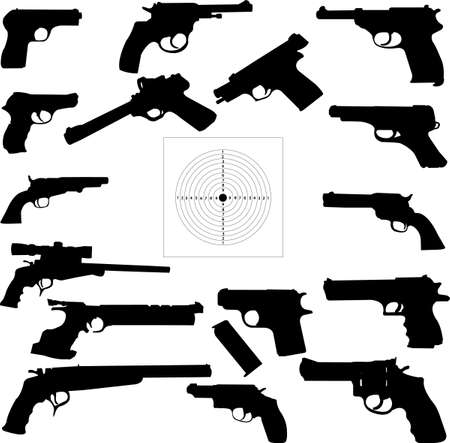 lethal:  Vector illustration of pistols silhouettes Illustration