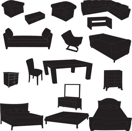dining room: Silhouettes of furniture Illustration
