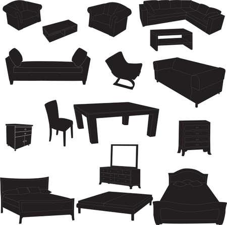 dormir habitaci�n: Siluetas de muebles de