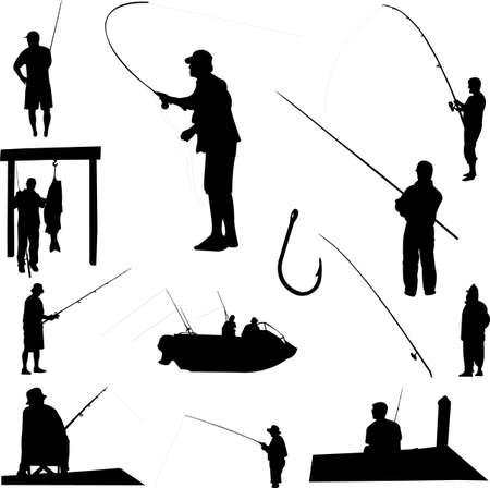 fishermen and fishing equipment - vector Vector
