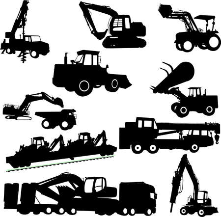 wheeled tractor: construction machines collection Illustration
