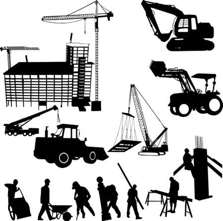 compactor: construction objects (crane - worker - building - skimmer) Illustration