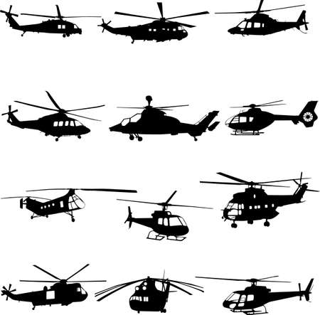 sikorsky: collection of helicopter Illustration