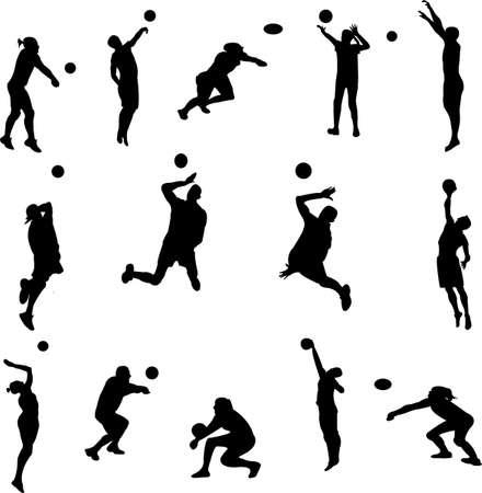 volleyball serve: siluetas de jugadores de voleibol - vector Vectores