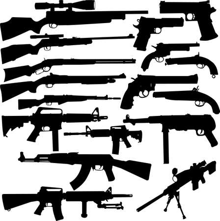 firearms:  weapon collection - vector