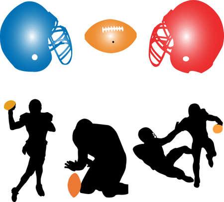 american football silhouettes - vector Vector