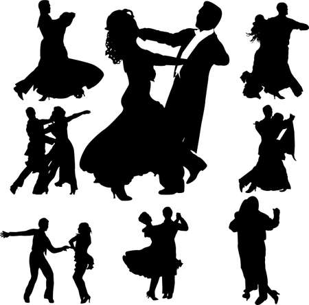 classic woman: dancing couples silhouettes collection - vector Illustration