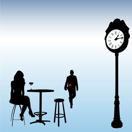 lady clock: couple date - vector