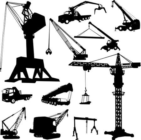 tower crane:  construction crane collection - vector