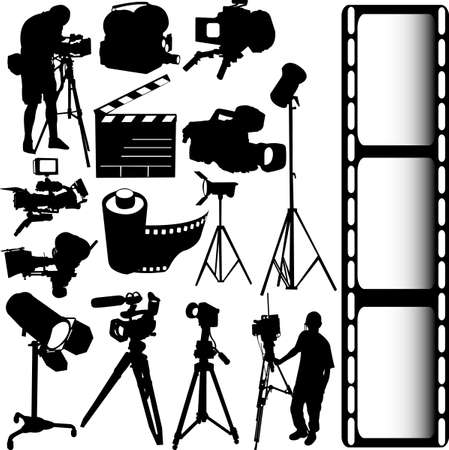 electronic survey: film, camera and equipments vector
