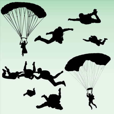flying man: parachutists silhouette collection - vector