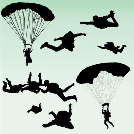 parachutists: parachutists silhouette collection - vector