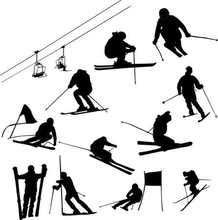 set of ski vector Vector