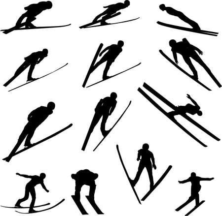 off ramp: ski jumping silhouette - vector Illustration