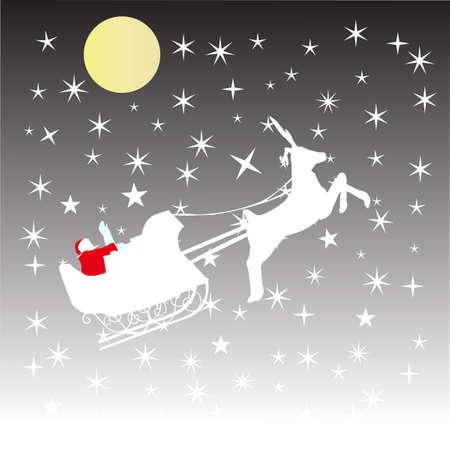 Santa Claus in sleigh with reindeer, christmas card, cartoon illustration Vector