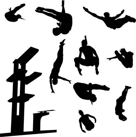 free style diving collection vector Illustration