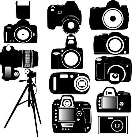 photo camera: Dijital foto fotocamera e cavalletto vettoriale Vettoriali