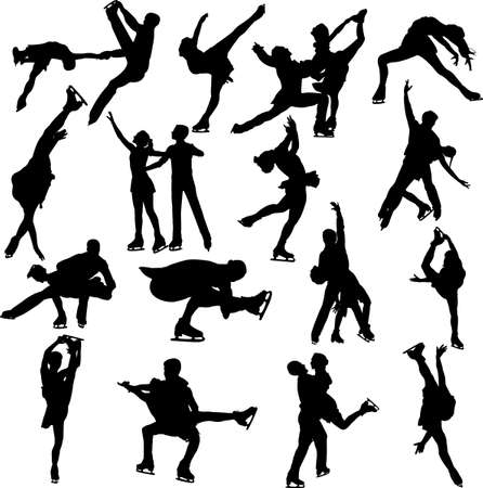 figure skating silhouette vectors Illustration