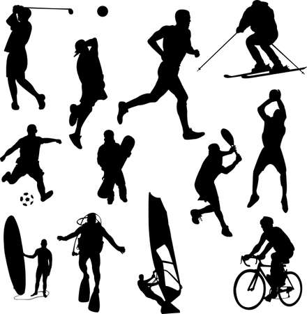 woman run: recreation sport silhouettes  Illustration