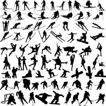 narciarz: silhouettes sportów zimowych