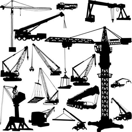 lift trucks: construction objects(crane) Illustration
