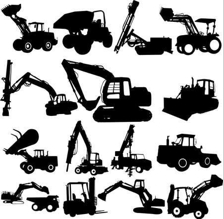 excavating: excavator silhouette set