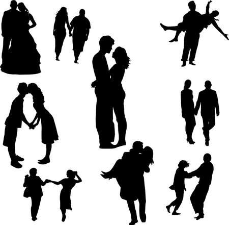 baiser amoureux:  couples amoureux  Illustration