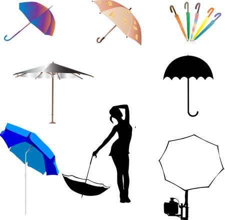 umbrella and beach umbrella  Stock Vector - 6485805