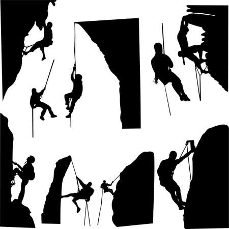 climbing: rock climbers silhouette collection  Illustration