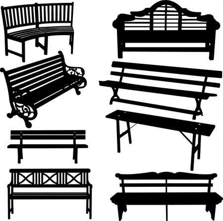 banc parc: banc silhouette  Illustration
