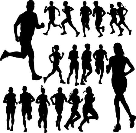 hombres corriendo: ejecuci�n de conjunto de personas  Vectores