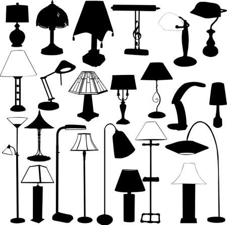 big collection of lamps silhouette Vector