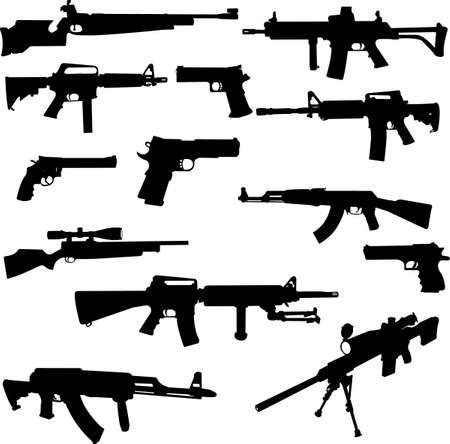 different weapons collection silhouette  Vector